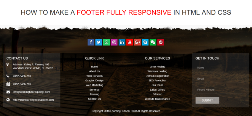 How to make a footer fully responsive in html and css